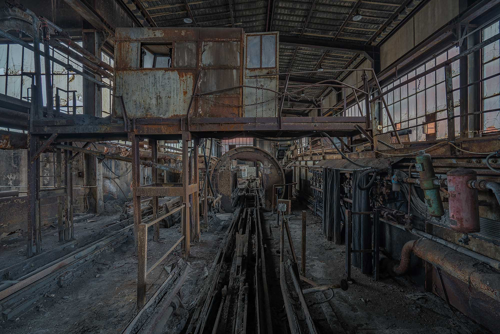 Abandoned decayed coal mine in France