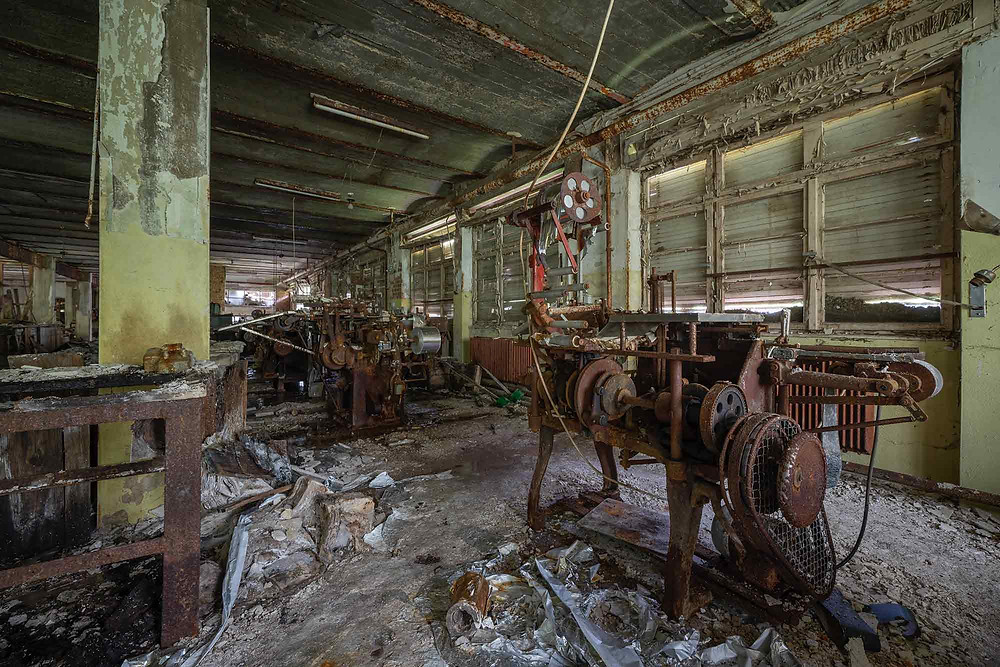 Production machines at an abandoned chocolate factory