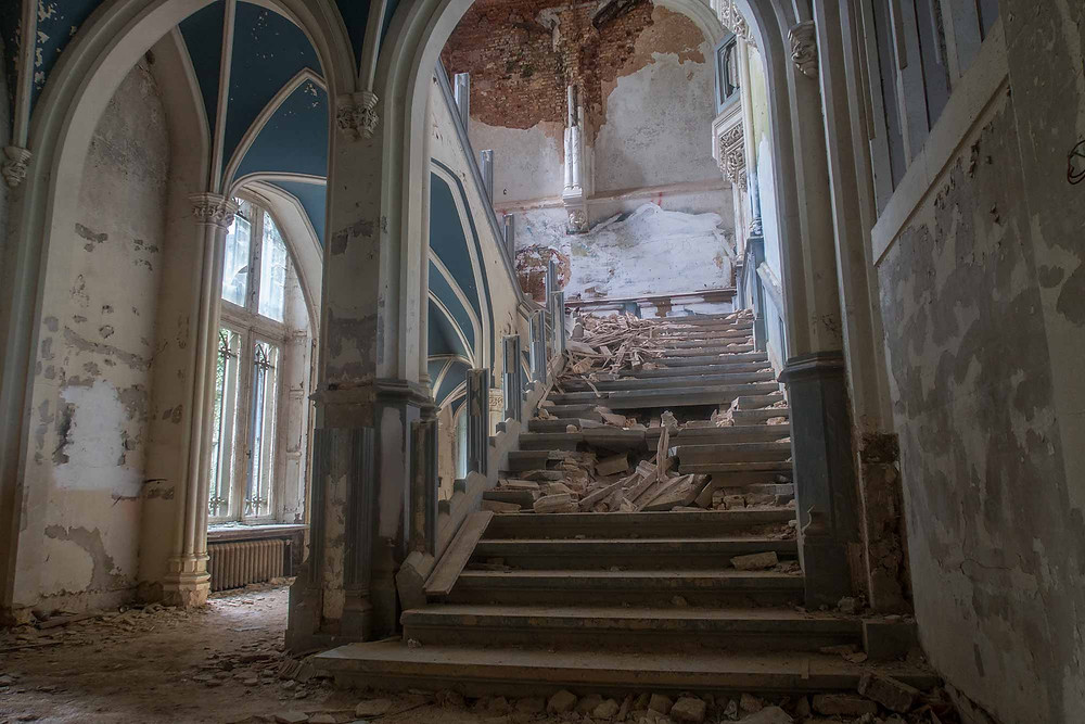 The main staircase on the abandoned castle