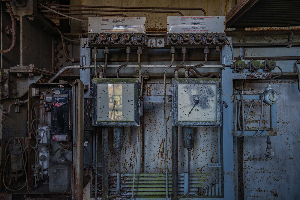 Gauges at abandoned power plant