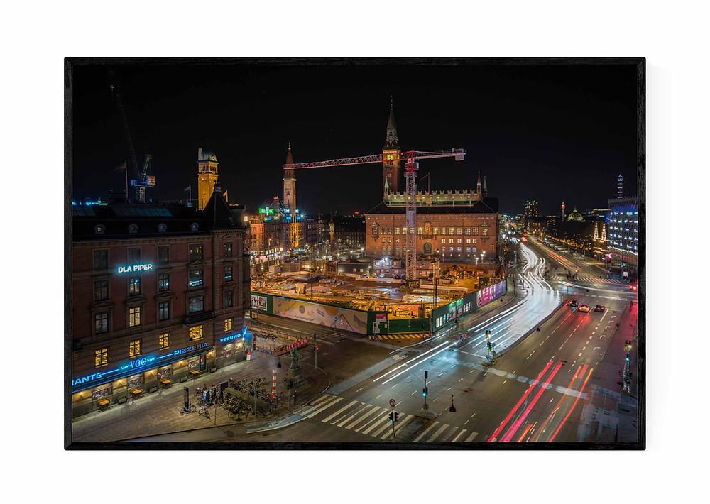 Fotokunst af rådhuspladsen i København