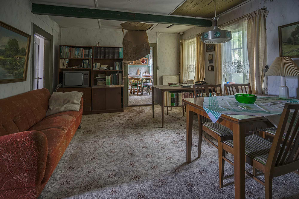 Decaying ceiling in abandoned house in Denmark