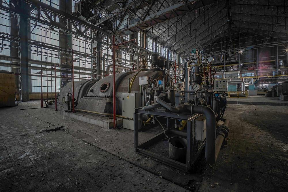 Turbine på forladt kraftværk