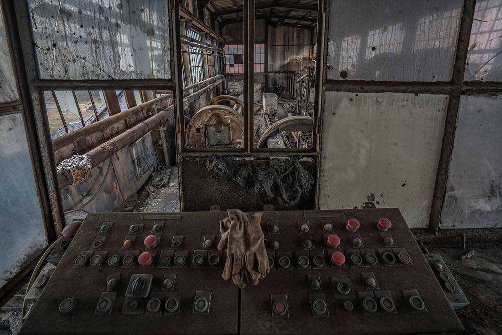 Control panel in abandoned coal mine in France