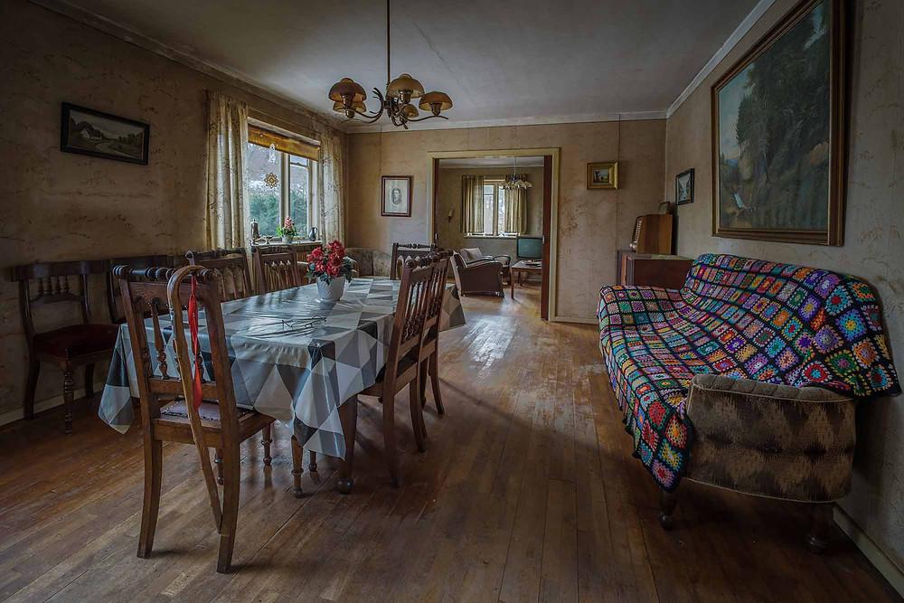 Livingroom at abandoned farm in Denmark