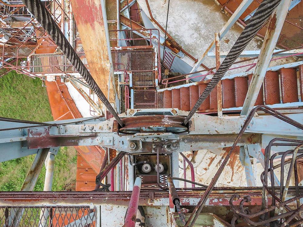Rust and dirt on abandoned bucket wheel excavator