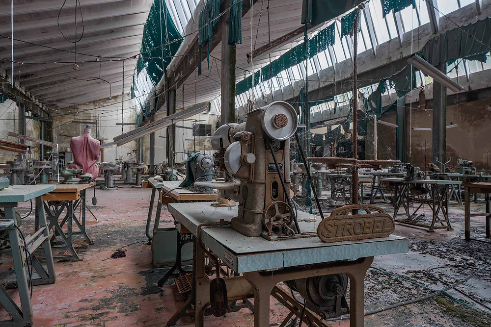 Sewing machines in abandoned Knitting factory
