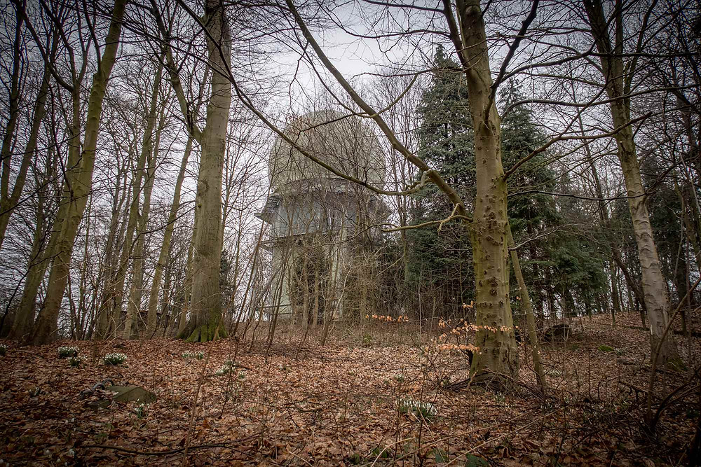 Radar station in Denmark seen from the forest