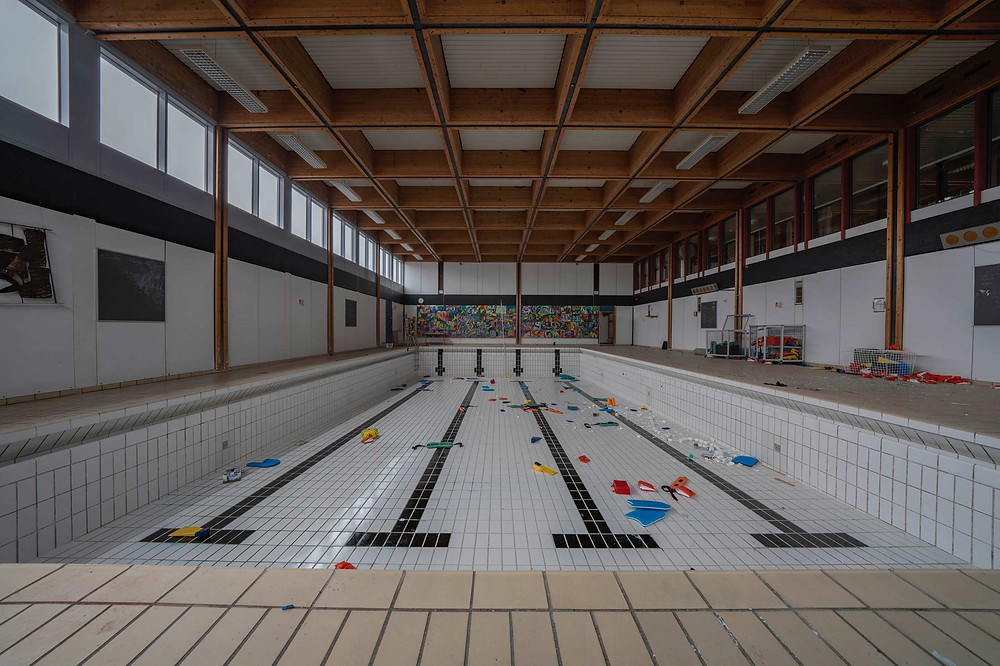 Swimming pool at abandoned school in Denmark