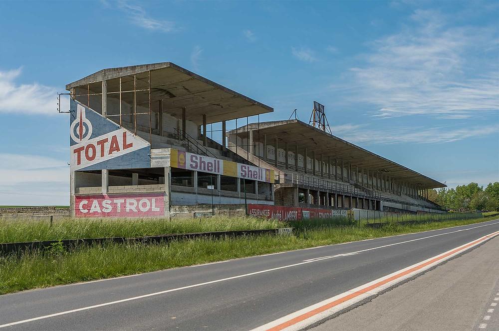 Abandoned racetrack Circuit de Reims Gueux grandstand