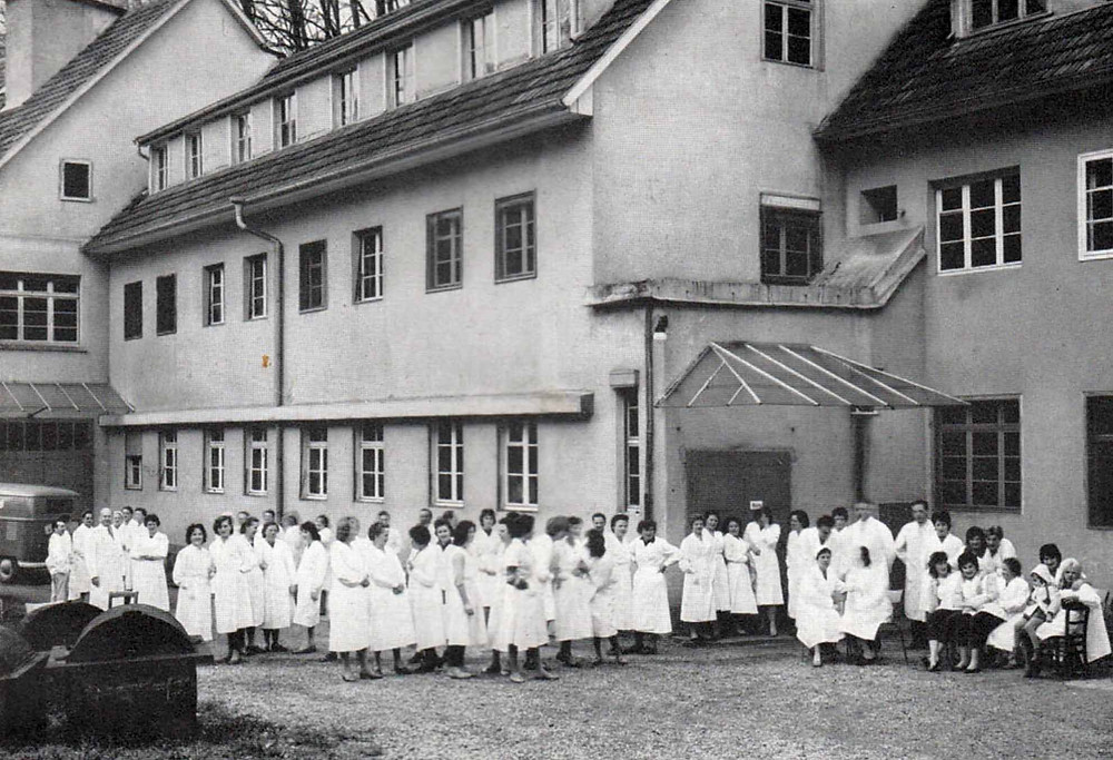 Employees at the today abandoned chocolate factory