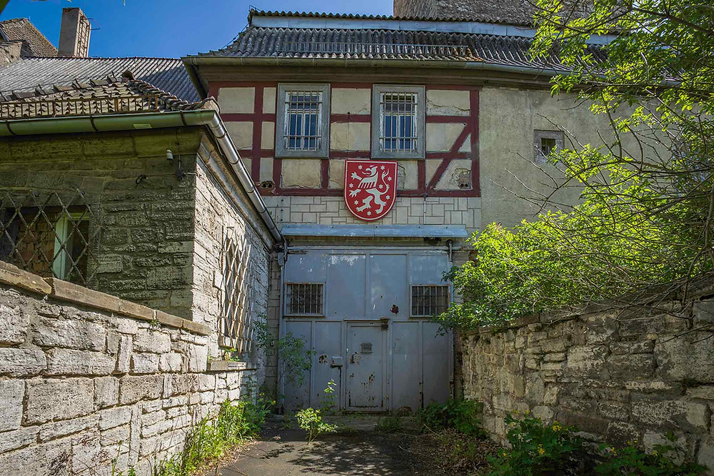 Main gate to an abandoned prison in Germany