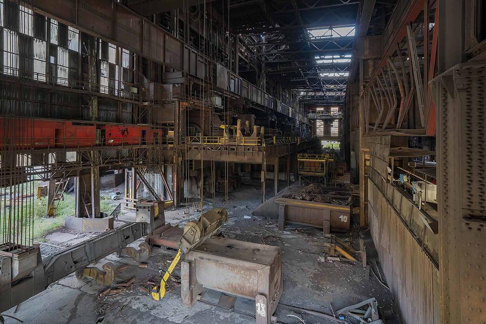 Scrap metal crane in abandoned steelworks in Belgium