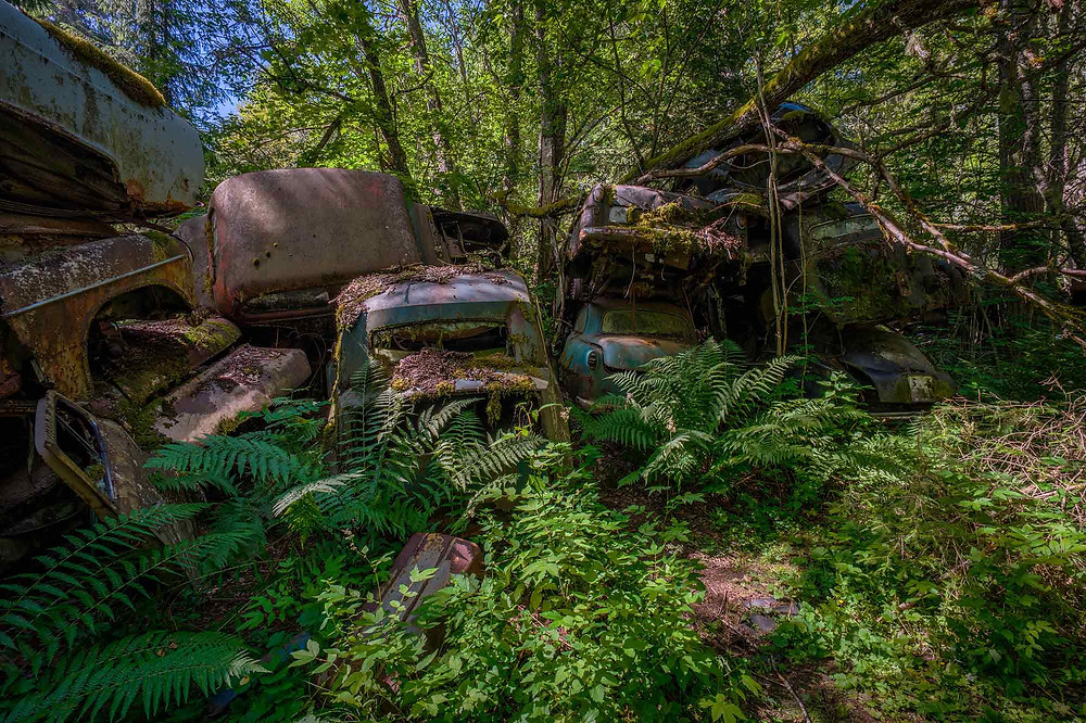 Abandoned cars in piles in Sweden