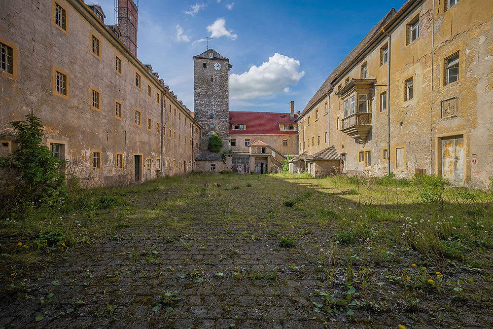 Courtyard in abandoned prison in Germany