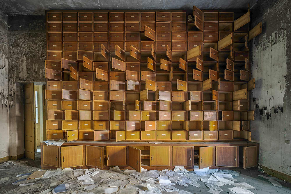 File cabinets in abandoned mental hospital