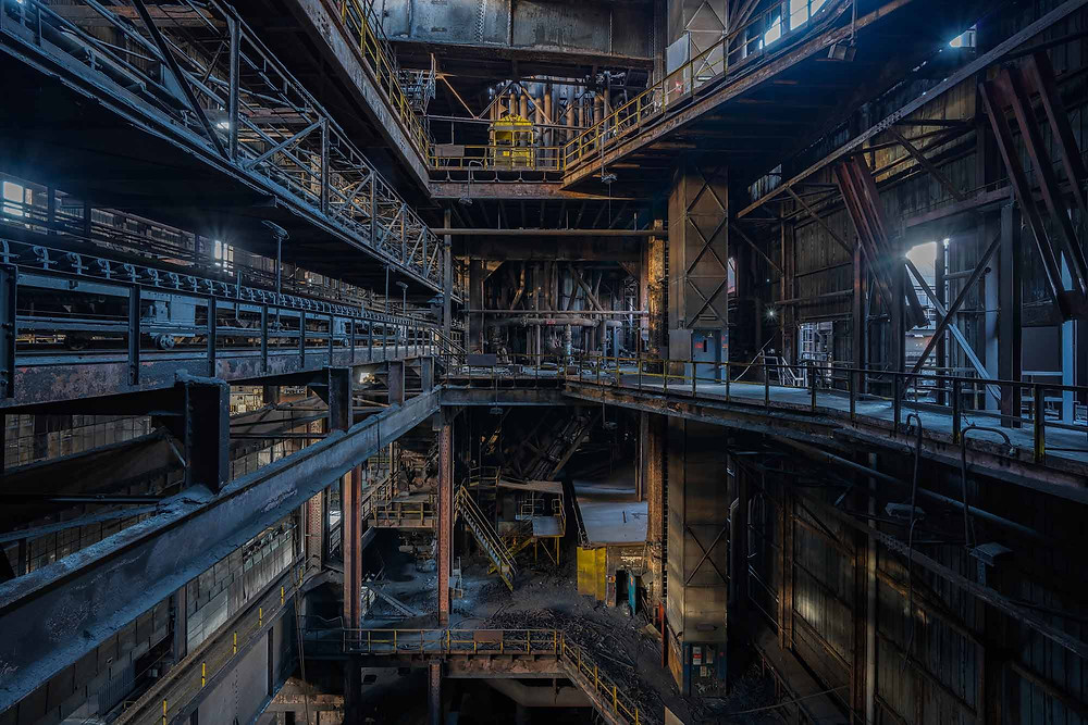 Rusty staircases on abandoned steel factory