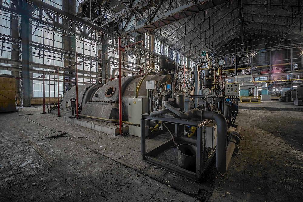 Turbine at abandoned power plant