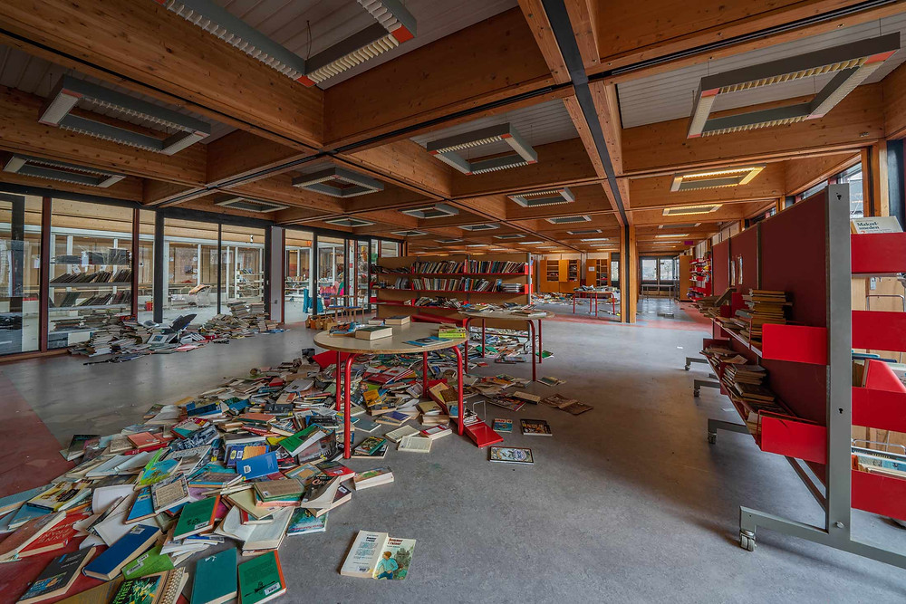 Library at abandoned school in Denmark