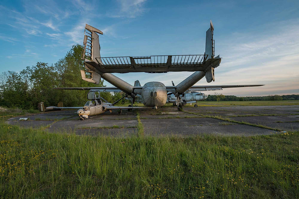 Abandoned aeroplanes Nord Noratlas and Fouga CM.170 Magister