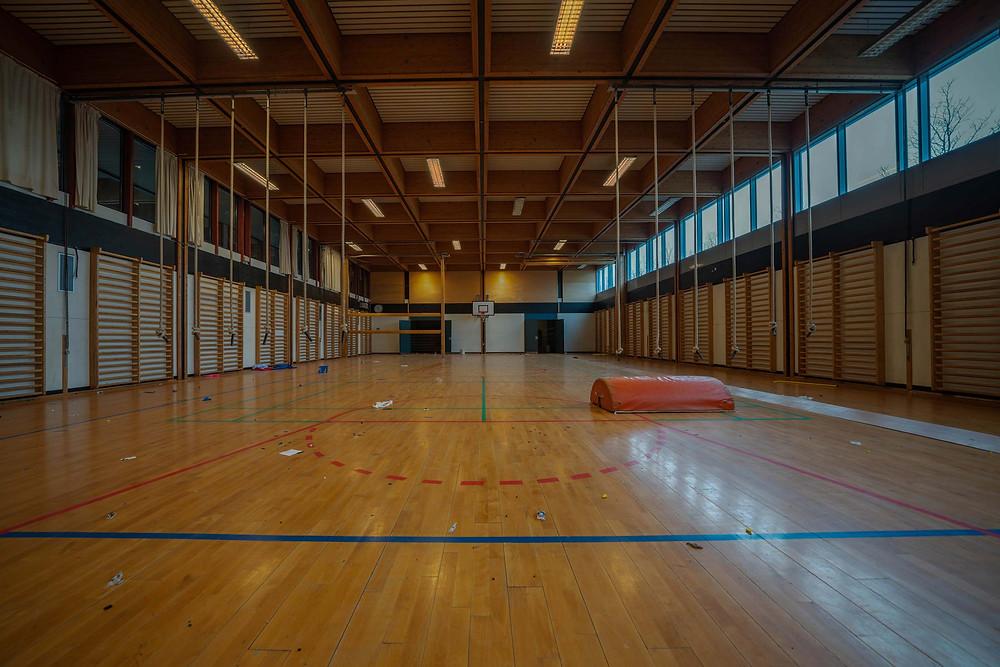 abandoned school gym hall