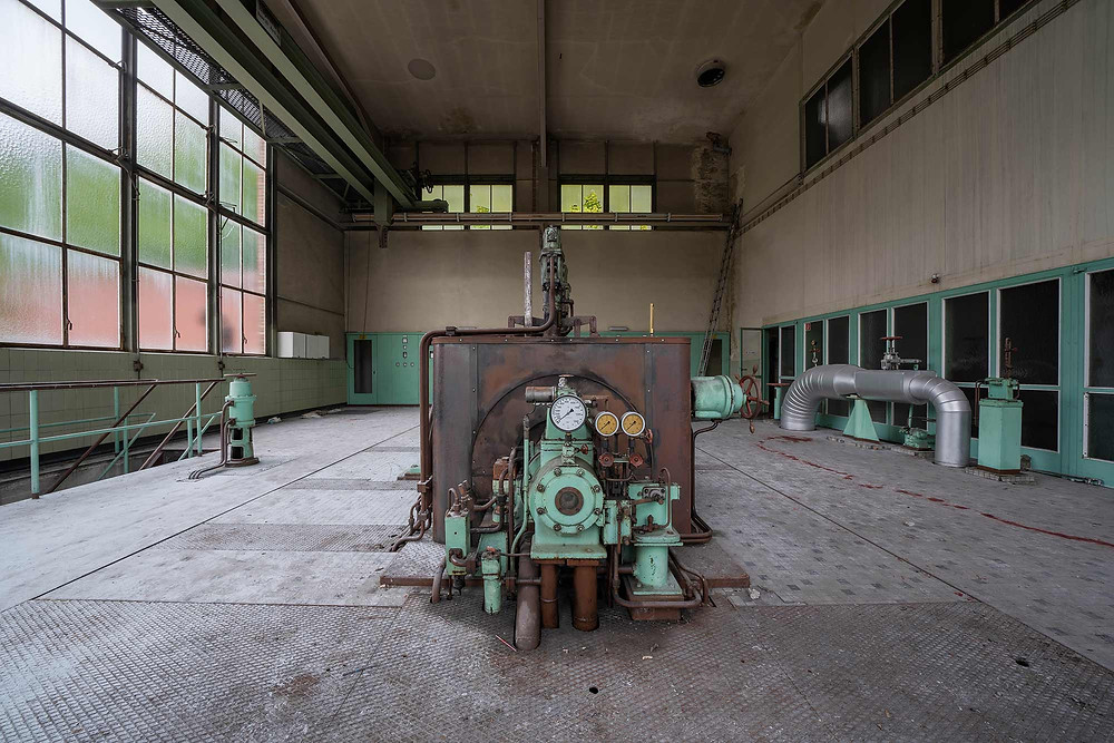 The end of the turbine at the abandoned power plant