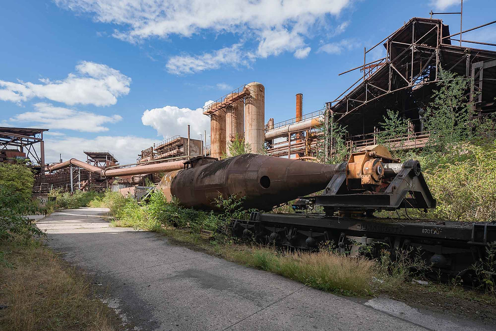 Abandoned torpedo wagon to transport the molten raw steel