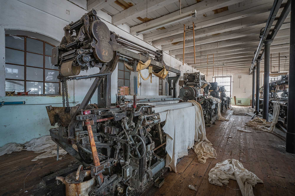 old machines in abandoned factory