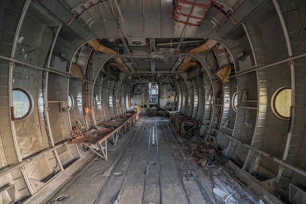 Cargoroom on an abandoned aeroplane Nord Noratlas