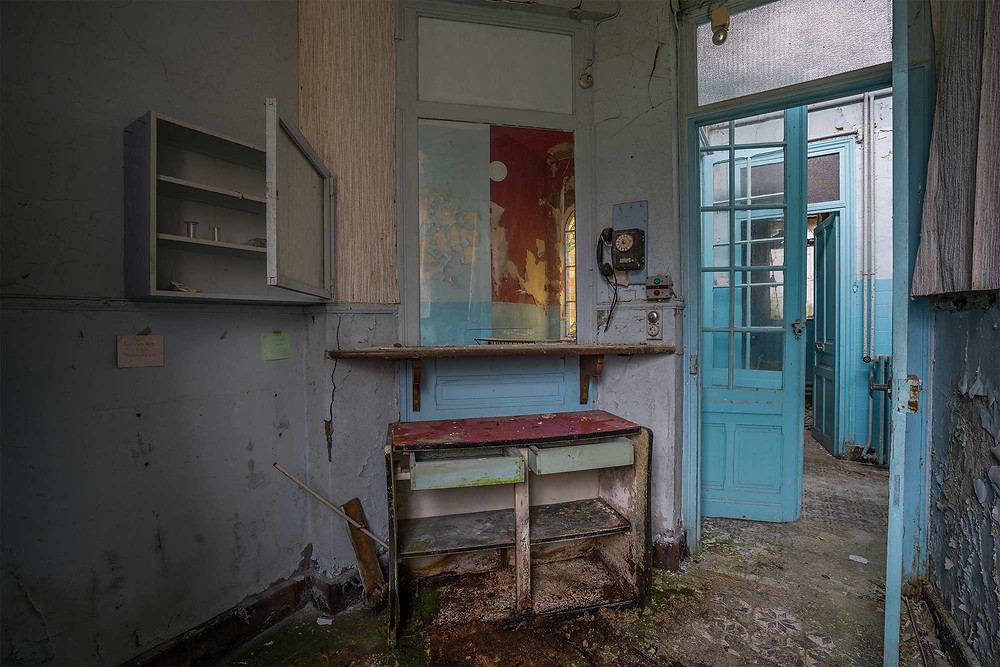 Decayed room in abandoned spa