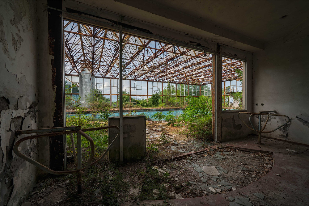 Abandoned swimming pool in Italy