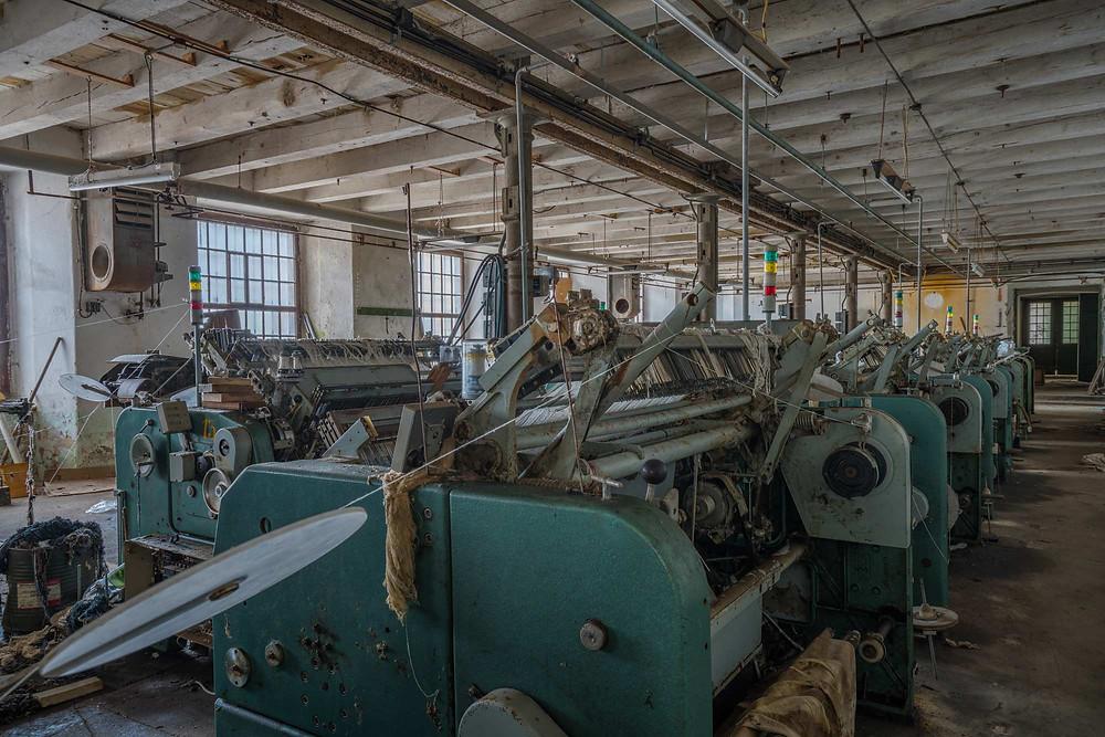 Abandoned clothing factory machines