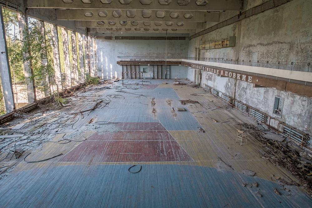 Stor gymnastikhal efter Tjernobyl ulykken