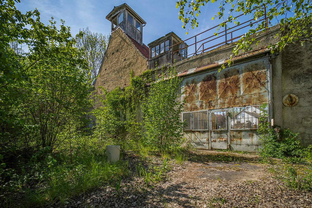 Prison guard towers at abandoned prison in Germany