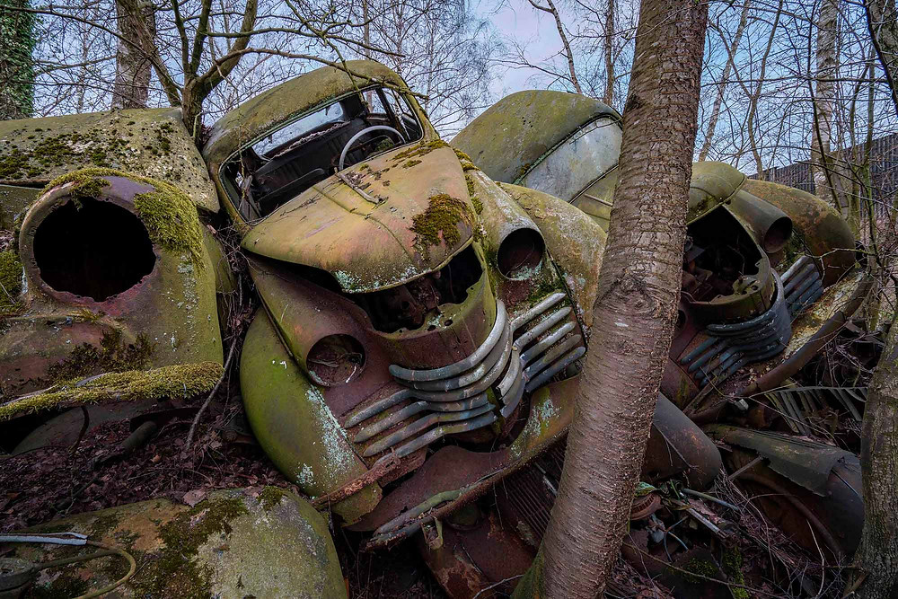 Beautiful decayed abandoned cars
