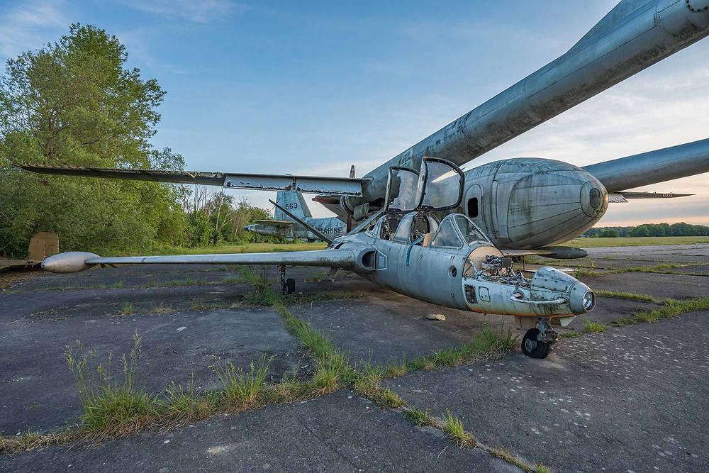 Abandoned aeroplane Fouga CM.170 Magister