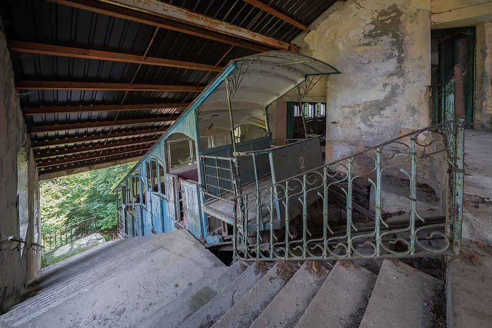 Abandoned funicolare in Italy with patina