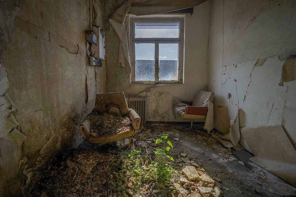 Natural decay in abandoned prison
