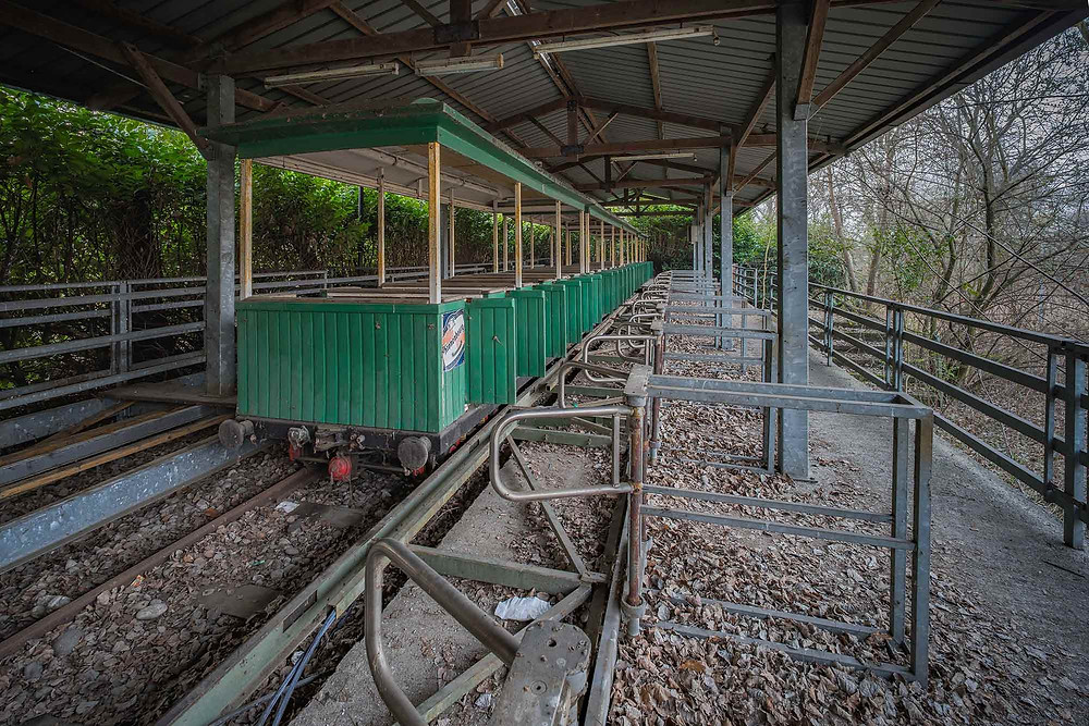 Fun ride in abandoned theme park in Italy