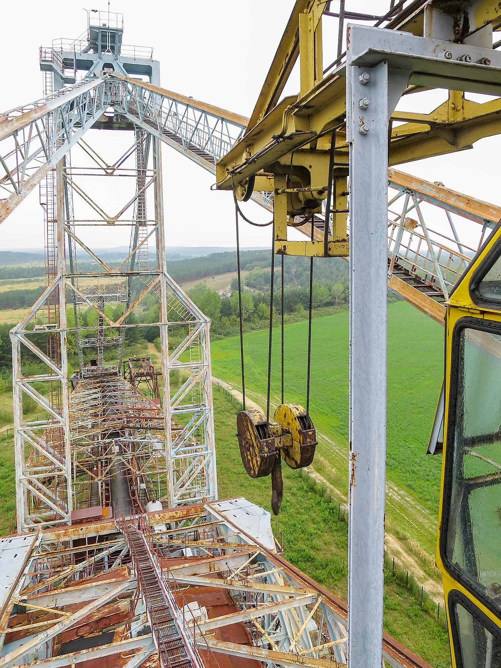 View from crane at abandoned bucket wheel excavator