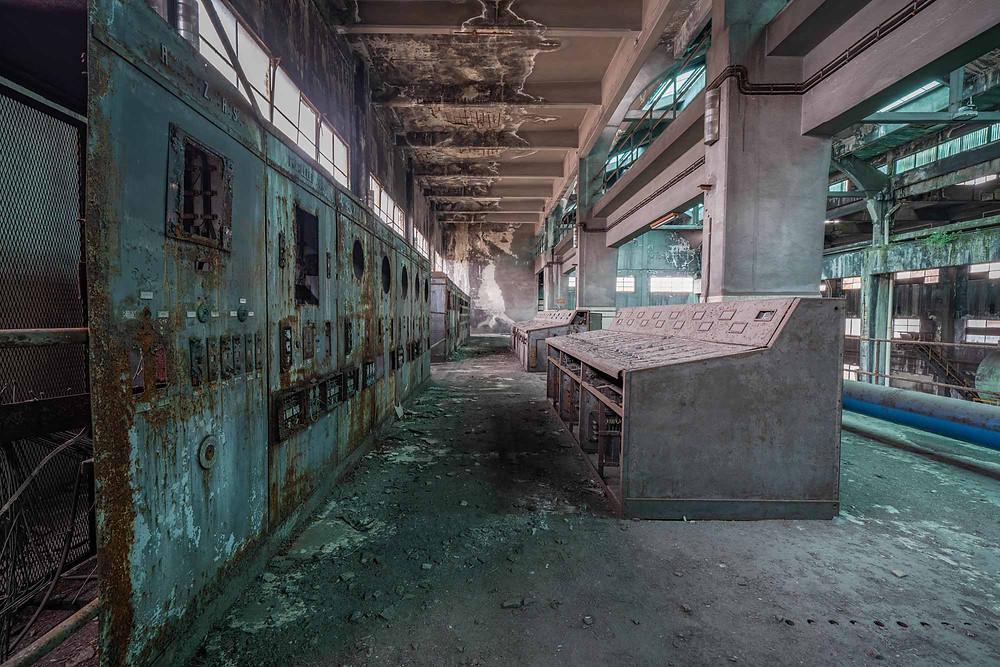 Kontrol paneler til forladt kraftværk