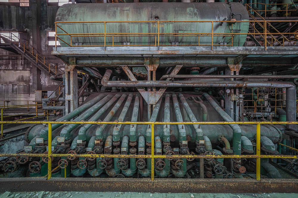 Pipes and tubes on abandoned power plant in italy