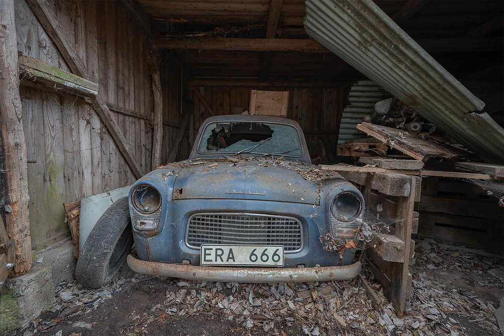 Abandoned Ford Anglia in Sweden