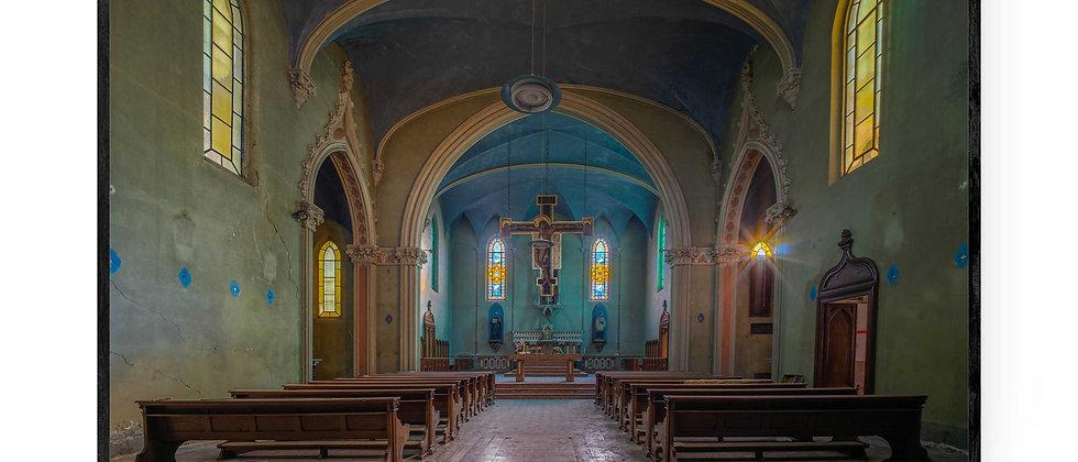 Fotokunst print af Blue Church i 75x50 cm med sort ramme