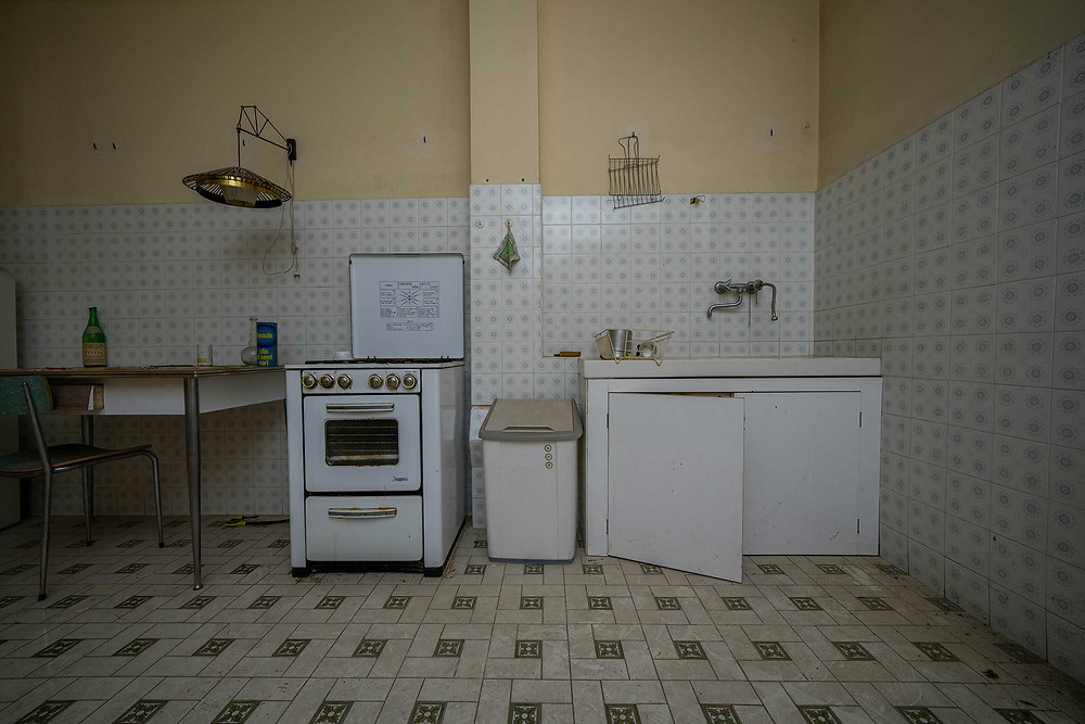 Kitchen in abandoned factory in Italy