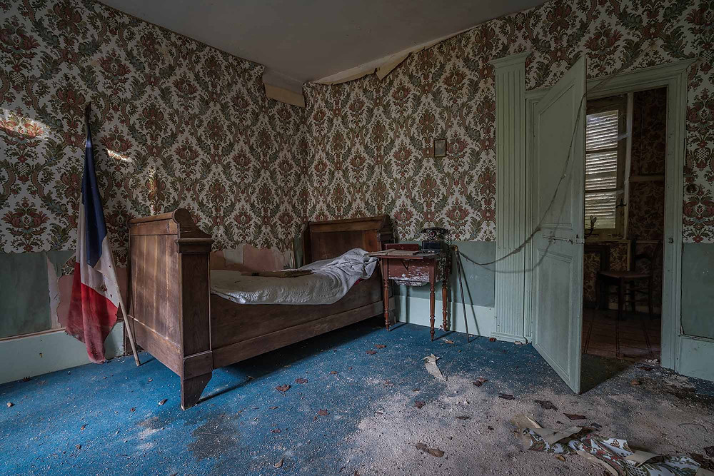 Decaying room of an abandoned castle