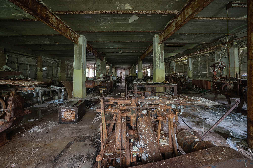Produktionshal på gammel chokoladefabrik