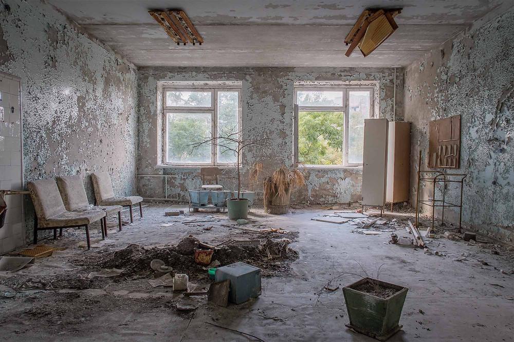 Waiting room in hospital in Chernobyl