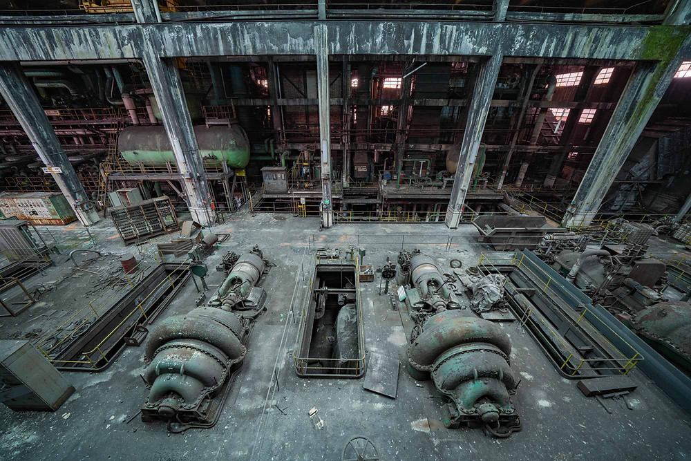 Turbines seen from top floor at abandoned power plant