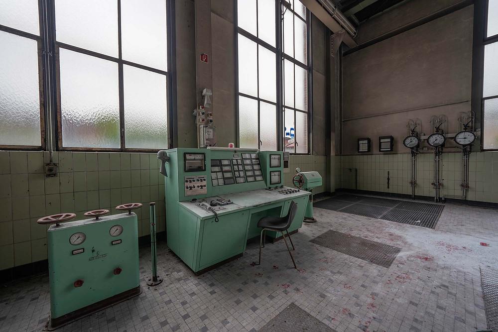 Mint green control panel
